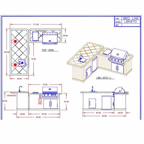 See The Dimensions Of The Cal Flame Lbk870 Bbq Grill Island Outdoor Kitchen Plans Outdoor Bbq Kitchen Outdoor Kitchen Design