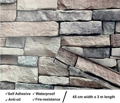 3d Stone Rock Wallpaper Background Modern Vinyl Film Sticker Self Adhesive Stack Brick Wall Decor Wall Stickers Brick Brick Wallpaper