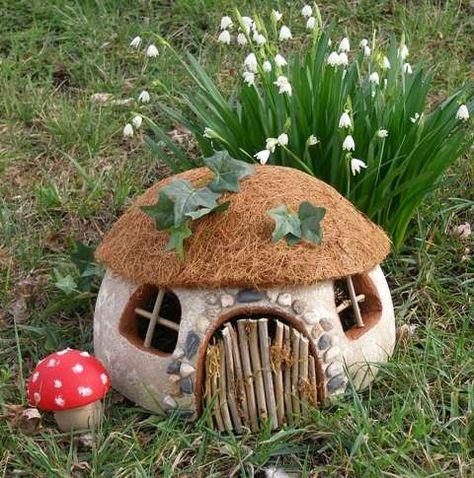 Smooth Foam Gnome Home # FairyGardening - Gartendekoration Fairy Garden Houses, Gnome Garden, Garden Picnic, Fruit Garden, Homemade Garden Decorations, Beautiful Fairies, Beautiful Places, Fairy Doors, Fairy Garden Doors