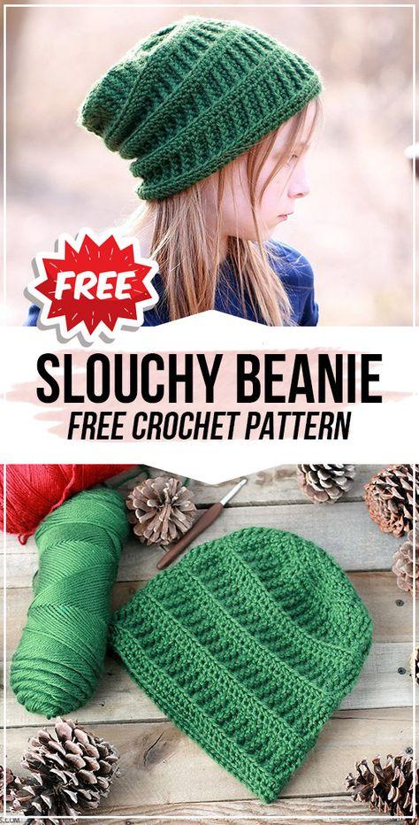 crochet Slouchy Beanie free pattern - easy crochet beanie pattern for beginners Crochet Gratis, Crochet Cap, Crochet Slouchy Beanie Pattern, Kids Crochet Hats Free Pattern, Beanie Pattern Free, Slouchy Beanie Hats, Knit Hats, Beanies, Crochet Hats For Kids