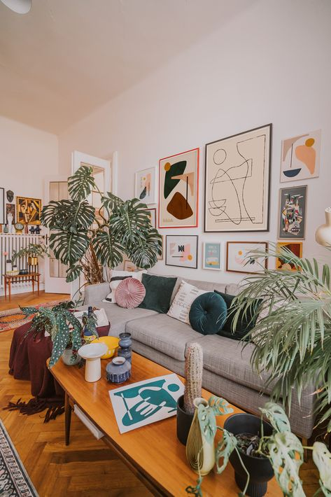 mid-century vintage pieces combined with plants and minimalist art at the home of artist Jan Skacelik
