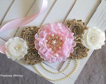 Pink And White Maternity Sash Belt,Baby Showers Belt Flower Girl Sash