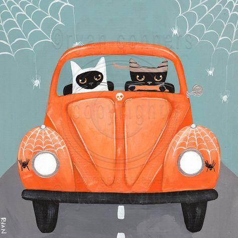 Halloween CATS, Road Trip, Driving Cats, Original Halloween Cat Folk Art…