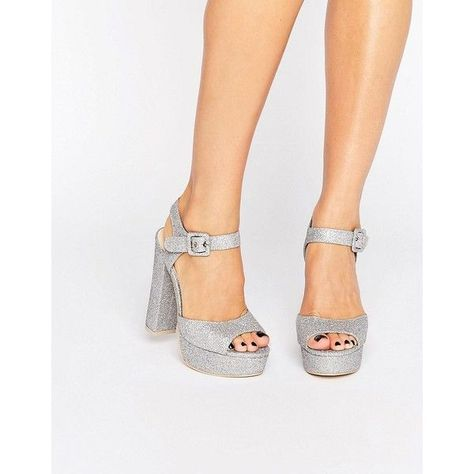 90258569e0d Public Desire Bonita Silver Glitter Platform Heeled Sandals (190 RON) ❤  liked on Polyvore featuring shoes