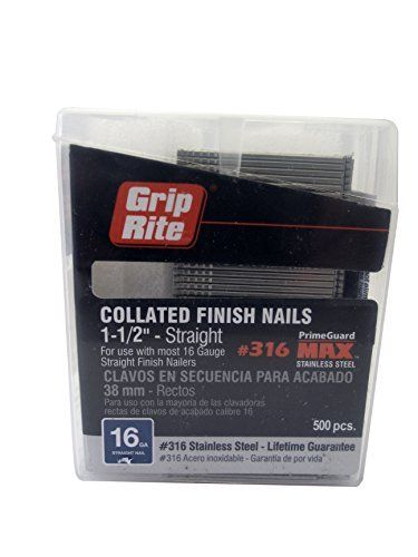 Airtoolsdepot Grip Rite Prime Guard Maxb64895 1 1 2 Inch 316 Stainless Steel 16 Gauge Straight Finish Nail 500 Per Belt Clip By Grip Rite