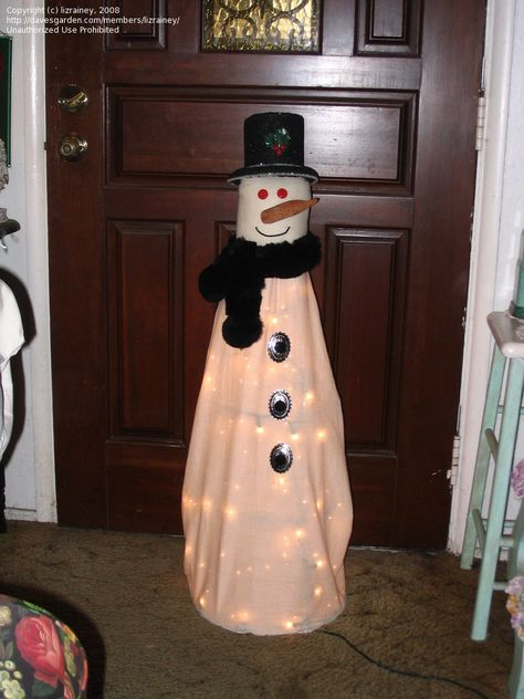 Snowman Made From Tomato Cage