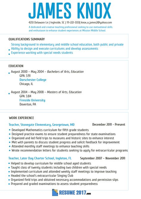 Great Teacher Resume Template 2018 That Will Make Your