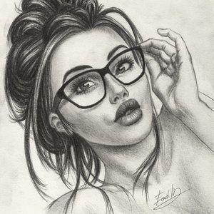 Chicas Con Lentes Siempre Bellas Dibujos Realistas A Lapiz Boceto De Dibujo Dibujos Detallados