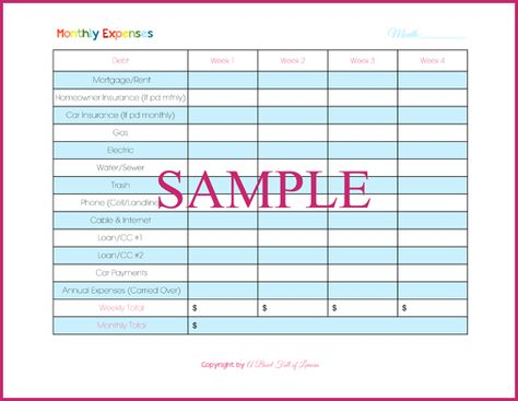 Monthly Expenses Bills DueAnnual Expenses  Organization