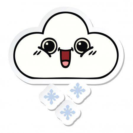 Sticker Cute Cartoon Snow Cloud Stock Vector Affiliate Cartoon Cute Sticker Snow Ad Snow Clouds Cute Cartoon Image Stickers