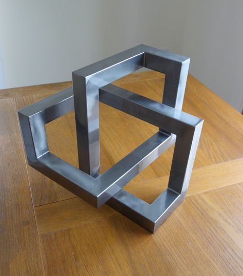 Metal trefoil sculpture - Large optical illusion metal art and cool home decor gift handmade from steel