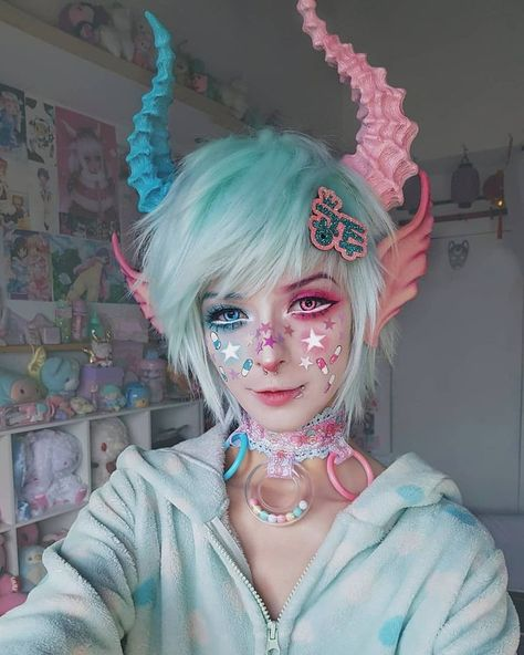 💖💙 . . Chocker made by me♡ . . Horns and ears by Mallory.x (Horns painte...