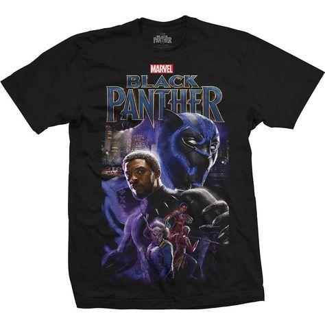 Marvel Comics Unisex Tee: Black Panther Montage - Large / black / Unisex