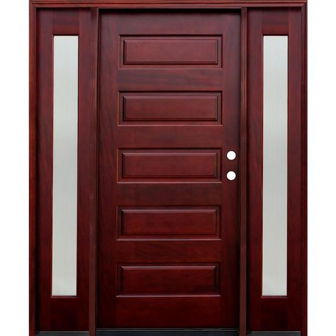 Pacific Entries 70 In X 80 In Contemporary 5 Panel Stained Mahogany Wood Prehung Front Door With 14 In Reed Sidelites Medium Red Mahogany Door Design Interior Wood Entry Doors Wood Front Doors