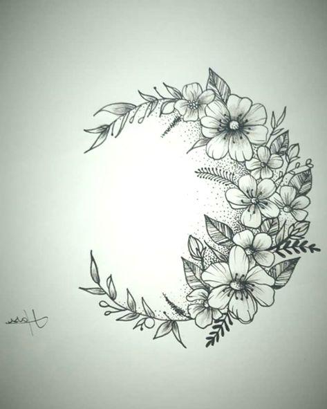 Super Women Tattoo - Tattoo Moon Flower Tatuagem Lua Flores ... # Flower #flores # ...