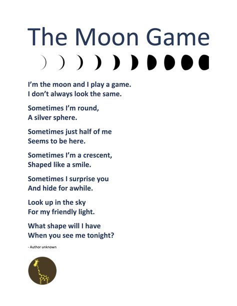 POEM + FLASHCARDS – THE MOON GAME + The Phases of the Moon | Guybrarian