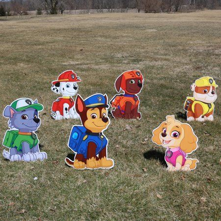 Paw Patrol Character Yard Signs Set Of 6 Up To 2 5ft Walmart Com Paw Patrol Party Decorations Paw Patrol Decorations Paw Patrol Characters