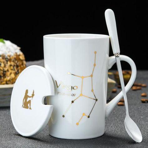 Glossy Ceramic Zodiac Mug Gift Set - Virgo - White / 420ml