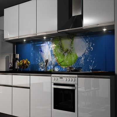 50 Kitchen Backsplash Ideas Brilliant blue LED lights add a - folie für küchenfront
