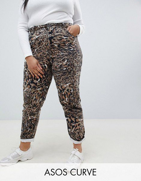 ASOS Curve Ritson Rigid Mom Jeans In Abstract Leopard Print