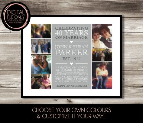 40 Year Wedding Anniversary Photo Collage Print Digital File Etsy Wedding Anniversary Photos Anniversary Photos Print Collage