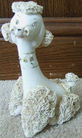 Vintage RELCO Ceramic POODLE FIGURINE Rhinestone Eyes