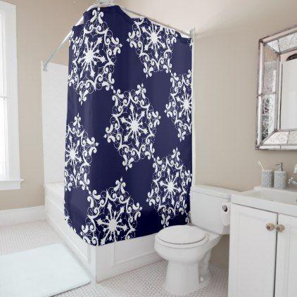 White Snowflake On Dark Blue Shower Curtain Zazzle Com Blue