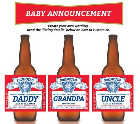 Pregnancy Reveal Wine Label First Father/'s Day Gift Pregnancy Announcement for Husband First Time Dad Gift Custom Beer Bottle Labels