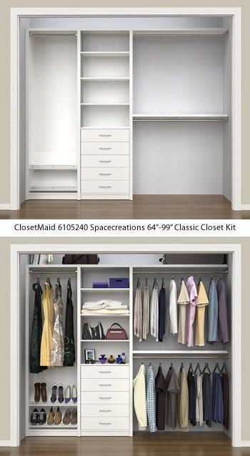 Closetmaid 6105240 Spacecreations 64 99 Classic Closet Kit Closetmaid Spacecreations Closet Organizers Bedroom Closet Design Closet Renovation Closet Kits