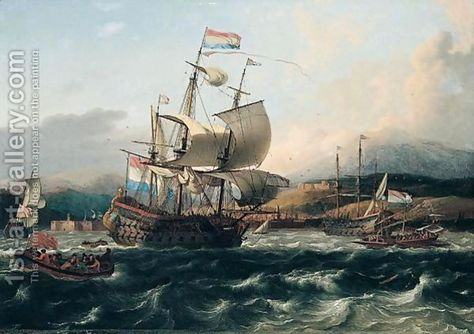 Dutch and english men of war with galley and other shipping off a Levantine coast by Ludolf Backhuysen