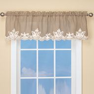 Burlap Valance With Lace Embroidered Trim 42542 Burlap Curtains Valance Curtains Curtains