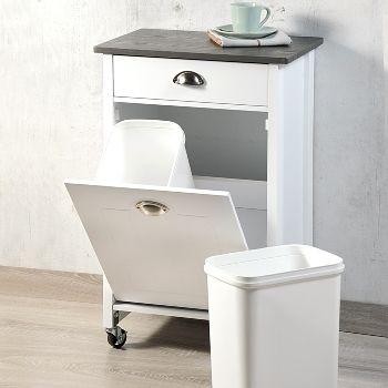 Küchenwagen mit Mülleimern Zwei herausnehmbare Abfalleimer