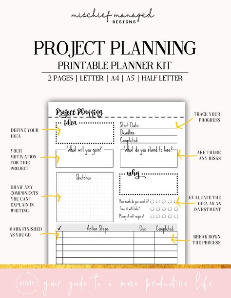Set up your idea, describe the pros and cons of your choice, sketch out components, and develop 6 action steps to complete your project. #MischiefManagedDesigns #Goalplanner #Organized #Printables #Dailyplanner #Productivity #Goalsetting #Inspirational #DIY #Projectplanning #Studytips #Worksheet #Projectsheet