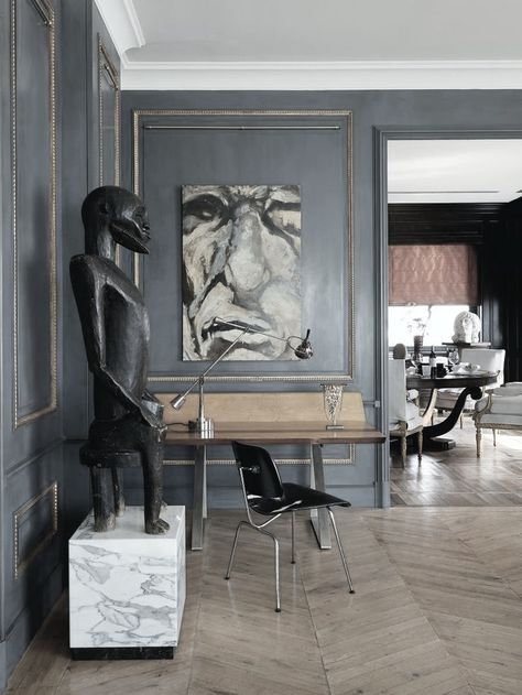 interior design contemporary office, grey walls, sculpture, modern decor style