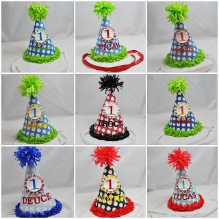 personalized 1st birthday boy party hats