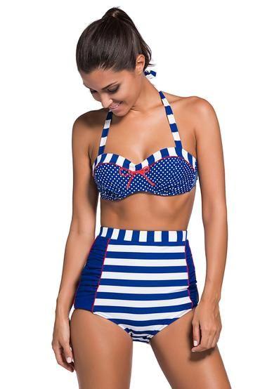 d8c721f7486c Bikini Corte Alto Marinerita Lineas Blanco y Azul | Trajes de baño ...