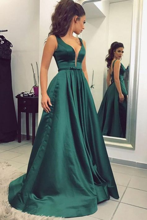 fefc753219d6 elegant plunging prom party dresses, chic dark green formal gowns with  backless back details for prom party.