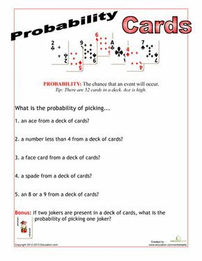 Deck Of Cards Probability Probability Worksheets Probability