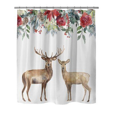 The Holiday Aisle Hoskins Christmas Deer Single Shower Curtain In