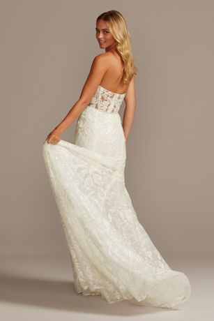 Beaded Brocade Embellished Mermaid Wedding Dress Style Swg835