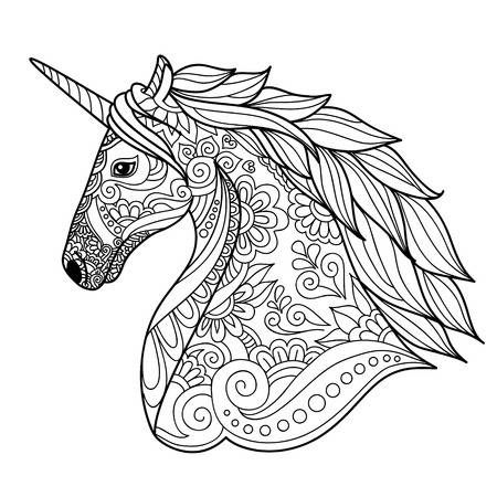Drawing Unicorn Zentangle Style For Coloring Book Tattoo Shirt Horse Coloring Pages Animal Coloring Pages Unicorn Coloring Pages