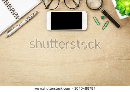 Table Top View Aerial Image Stationary On Office Desk Background