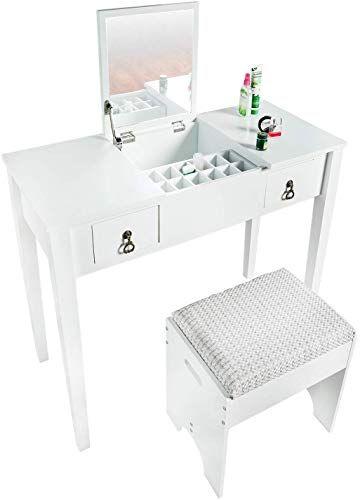 Buy Bahom Vanity Makeup Table Set Mirror Stool Dressing Table Girls Women Bedroom White Online In 2020 Vanity