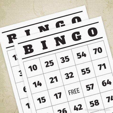 100 BINGO Cards 1-75 Printable