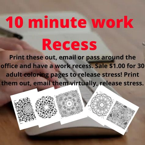 Printable COLORING pages Adult Stress Relieving Patterns to print. Adult Recess Activity. Take a break, destress and color. Dollar Sale! #adultcoloring #printable #work #adultrecess #relax #destress #funatwork #coloring #patterns #stressrelief #funmeetingidea #managementfun #stressrelief