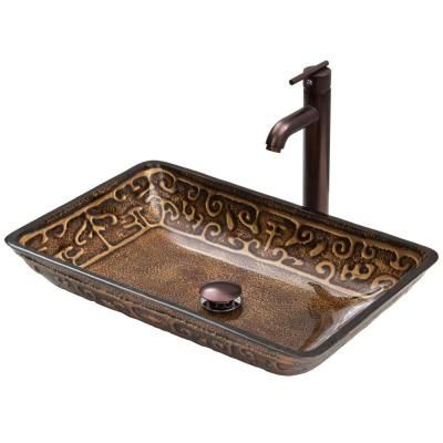 Vigo Rectangular Glass Vessel Bathroom Sink In Golden Greek With