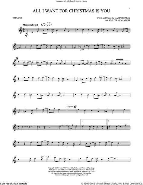 Carey All I Want For Christmas Is You Sheet Music For Trumpet Solo Clarinet Sheet Music Saxophone Sheet Music Cello Sheet Music