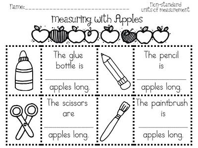Measuring with apples worksheet