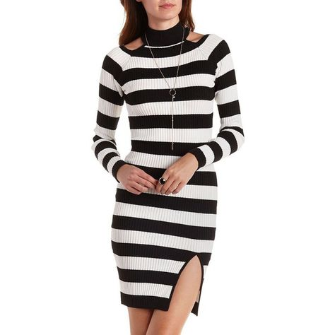 5c2d8851fcbc6a Charlotte Russe Black Ivory Striped Ribbed Cold-Shoulder Bodycon Dress... (