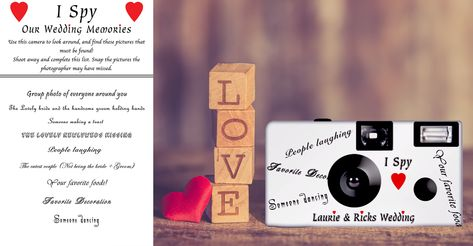 'I Spy' wedding disposable camera. Can be PERSONALIZED with one line of text in the front (limited 25 characters). 24 exposure, fuji high speed 35mm color film, single use camera. - Listing is for 10 'I Spy' cameras and 10 'I Spy' tent cards.   #camera #weddingcamera #disposablecamera #Ispy #scavengerhunt #Ispycamera #singleuse #35mm #film  #weddingfavor #pictures #personalized #Etsy